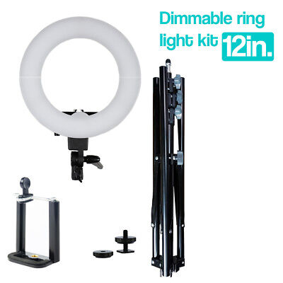 "12"" Photography Studio Dimmable LED Ring Light with Phone Holder Mount, Stand"
