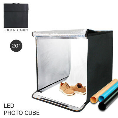 "20"" Portable Photography Photo Studio LED Shooting Cube Tent Box 4 Backgrounds"