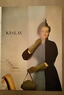 1949 vintage KISLAV women's green suede gloves purse fashion ad