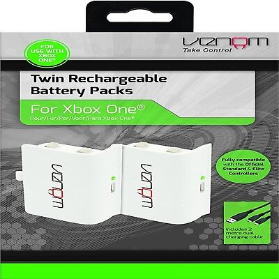 Venom Xbox One Rechargeable Battery Twin Pack: WHITE (Xbox One / Xbox One S / Xb