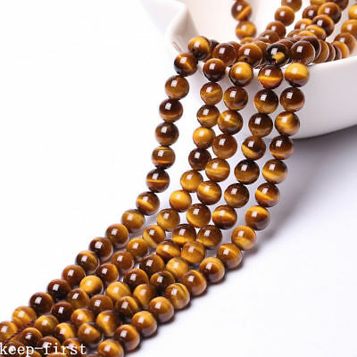 "8mm Natural Yellow African Roar Tiger Eye Stone Round Loose Beads 15"" AAA DIY"