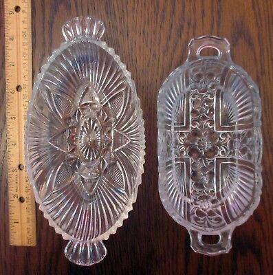 Vintage Clear Glass Candy Relish Pickle Olive Serving Dishes Lot of 2