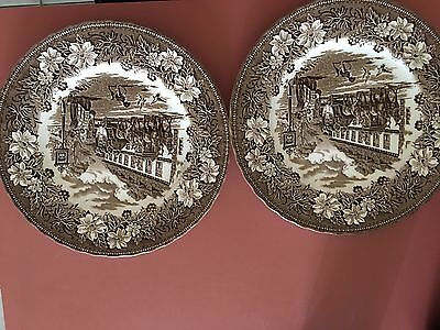 Lot Of 2 Vintage Royal Tudor Ware Coaching Tavern 1828 Dinner Plate Stafordshire