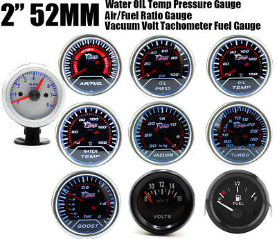 "2"" 52mm LED Car Oil Water Temp Pressure/Turbo Boost/Voltage/Tachometer Gauge AL1"