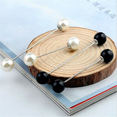 Practical Charm Double Pearl Stick Pin Scarf Safety Pin Brooch Sweater Ornament