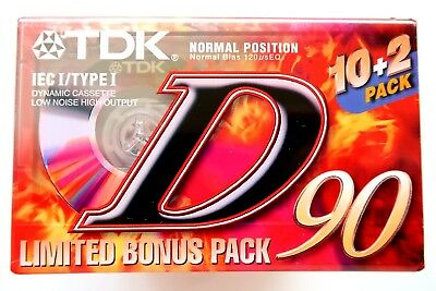 12 Pack - Tdk D90 Normal Position Type I Blank Audio Cassette Tapes