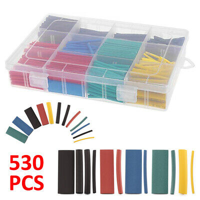 530 Pcs Assorted 2:1 Heat Shrink Tubing Tube Cable Sleeving Wrap Wire Kit Box AU