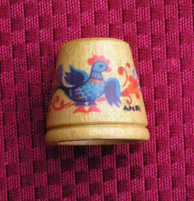 Vintage Painted Wood Thimble by ANRI of ITALY ~ Stylized Chicken/Bird ~ MINT