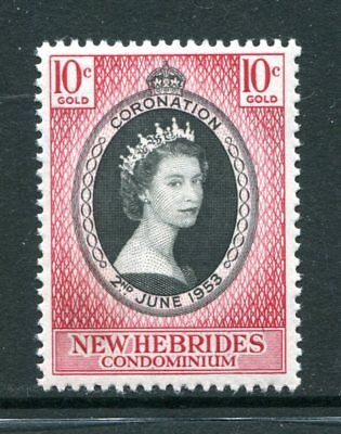 New Hebrides: 1953 Queen Elizabeth II Coronation 10c Stamp SG79 MNH BA131