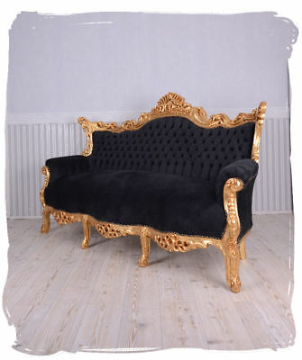 Baroque Sofa Antique Couch Black & Gold LOUIS XV GIANT GILDED SOLID WOOD SEAT