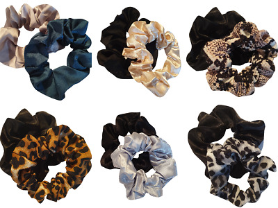 Set of 2 Ladies Womens Girls Hair Scrunchies Bobbles  Elastics Hair Scrunchy
