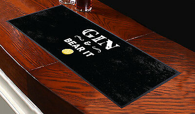 Gin And Bear It Design Bar Runner Cocktail Party Pub Club Great Gift L&s Prints