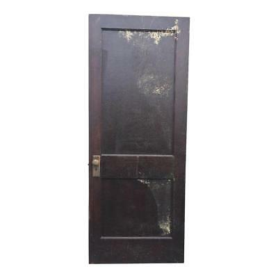 Vintage WOOD DOOR paneled wooden antique brown architectural salvage country pa