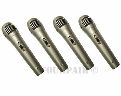 4 Pack Lot, Dynamic Uni-Directional Wired Microphone Mic 10ft Cord DJ PA Karaoke