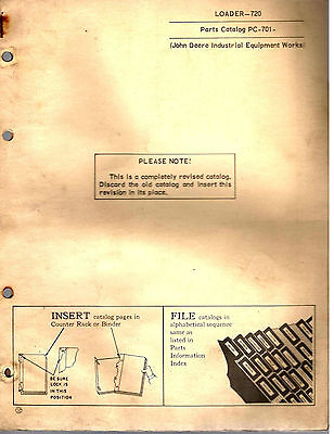 John Deere Loader 720 Parts Catalogue 1962 8218E