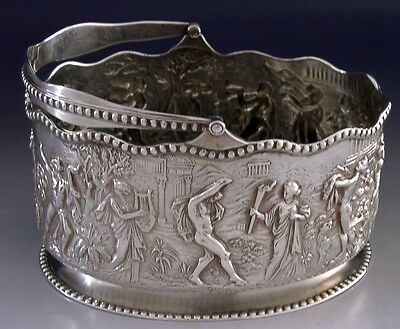 Stunning English Victorian Solid Sterling Silver Swing Handled Dish 1897 Antique
