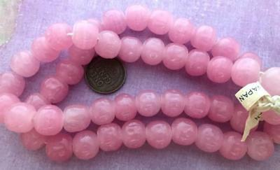 Vintage Cherry Brand 10-11mm Dimpled Pink Glass Beads Japan 12