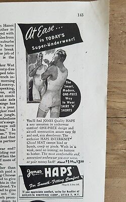 1946 Jones hats men's one piece underwear t-shirt vintage fashion closed seat ad