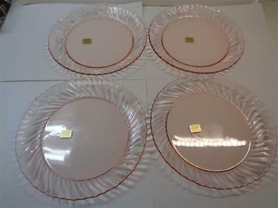 lot of 4 ARCOROC ROSALINE PINK Swirl Salad Dessert Plates 7.75in made in France