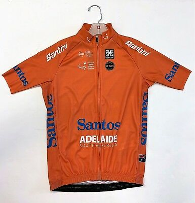 2018 Tour Down Under Leaders Orange Short Sleeve Cycling Jersey by Santini 749fb6bed