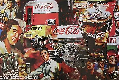 Coca Cola Collage: Painting Of Coke Bottles, Old Time Can, Truck & Soda Drinkers
