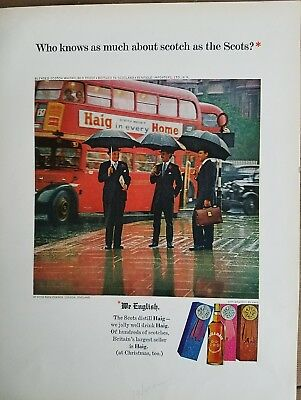 1964 Haig and Haig Scotch double decker bus Hyde Park London England ad