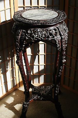 18c Antique Chinese Carved Rosewood /  Wood Marble Plant Stand Table