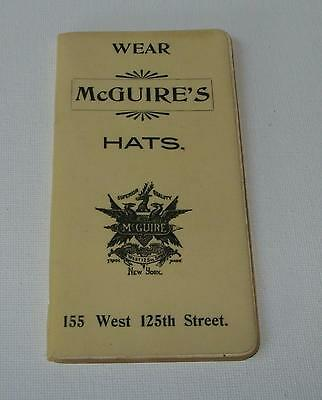 ORIG 1899 McGUIRE HATS COMPANY NYC - CELLULOID COVER BOOKLET