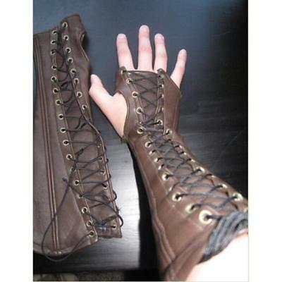 Steampunk Brown Black Gothic Leather Arm Bracers Medieval Lace Up Cosplay Costum
