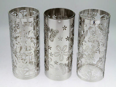 6 x Silver Stencil Candle Holder 20cm tall Bulk Wholesale lot reduced to clear