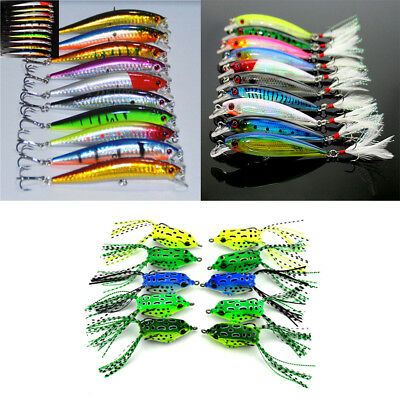 Lots 5/10pcs Fishing Lures Crankbaits Hooks Minnow Frog Baits Tackle Crank Set