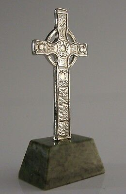 Beautiful Iona Silver Plate And Marble St Johns Cross Celtic Ritchie Design
