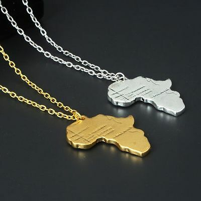 Africa Map Gold or Silver Color  Necklace African Country Pendant Chain 1Pcs
