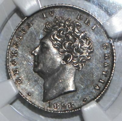 1828 GREAT BRITAIN 6 PENCE NGC AU58 UK COIN SILVER Sixpence