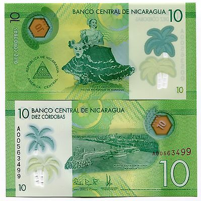 Nicaragua 2014 (2015) P208 Polymer 10 Cordobas Banknote Money UNC x 10 Notes Lot