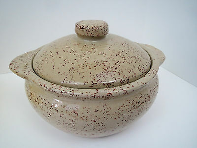 Monmouth USA Pottery Baking Dish TAN & RED SPLATTER Specks Seckled Casserole
