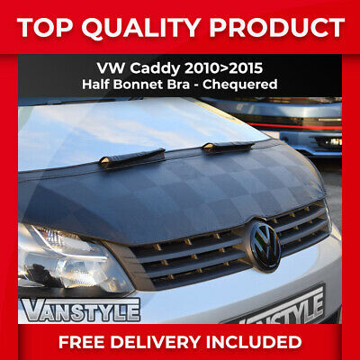 Vw Caddy & Maxi Bonnet Chequered Half Bra 2010-15 Top Quality Protector Cover