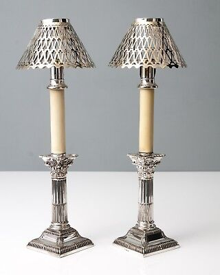Pair Antique Silver Plate Corinthian Candlestick Lamps with Auto Pushers c1890