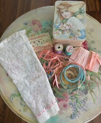 Girl Tin Full Antique Lace Sleeve Vintage Thread Ribbons Doll Pin Celluloid Card