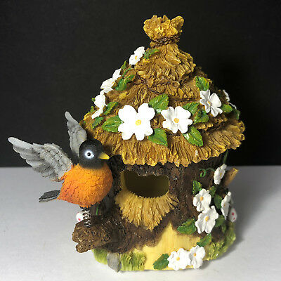 ROBIN FIGURINE BIRDHOUSE SERENADE sculpture statue Holsted house trinket box red