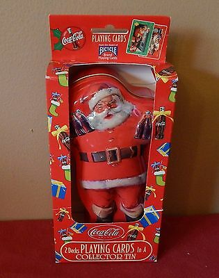 Coca-Cola 2 Decks of Playing Cards in a Collector Santa Claus Tin