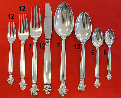Georg Jensen Acanthus Sterling Silver Flatware Denmark 74 Piece Set, Signed