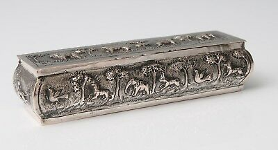 Antique Indian Silver Trinket/Desk Box with Elephants, Lions & Wild Animals