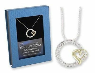 """Endless Love Pendant Heart 16"""" 18"""" Silver Plated Valentine Necklace Gift Box"""