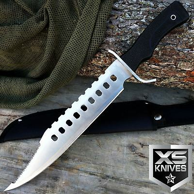 "17"" Tactical BOWIE Hunting RAMBO Fixed Blade SURVIVAL Knife MACHETE w/ Sheath"