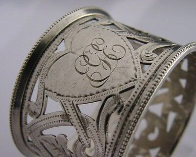 Superb Quality Sterling Silver Love Heart Designed Napkin Ring 1910 Antique