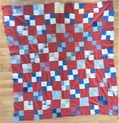 """antique QUILT TOP feedsack? red white blue brown 64""""x62"""" unfinished primitive"""