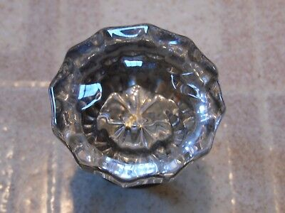 Vintage Clear Glass 12-Point Door Knob with Brass Casing