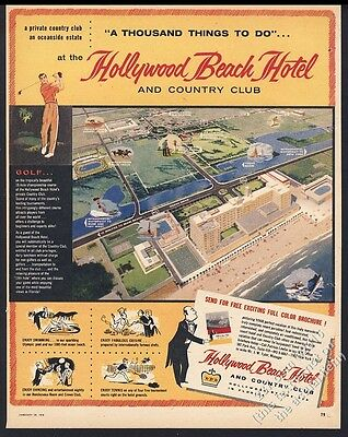 1956 Hollywood Beach Hotel art Hollywood By The Sea Florida vintage print ad
