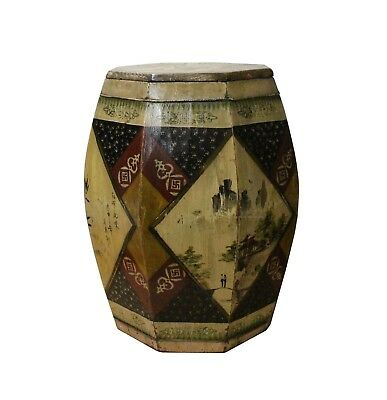 Chinese Village Vintage Wood Octagon Brown Scenery Box Display cs3625